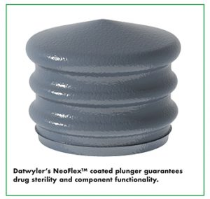Datwyler's NeoFlexTM coated plunger guarantees drug sterility and component functionality.