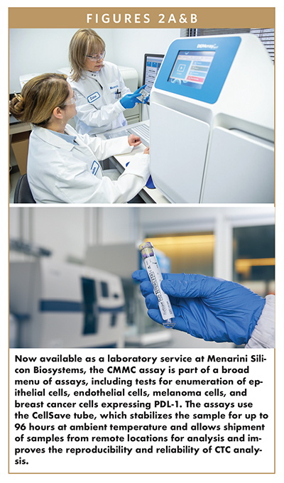 Now available as a laboratory service at Menarini Silicon Biosystems, the CMMC assay is part of a broad menu of assays, including tests for enumeration of epithelial cells, endothelial cells, melanoma cells, and breast cancer cells expressing PDL-1. The assays use the CellSave tube, which stabilizes the sample for up to 96 hours at ambient temperature and allows shipment of samples from remote locations for analysis and improves the reproducibility and reliability of CTC analysis.