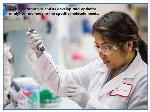 techAji Bio-Pharma's scientists develop and optimize analytical methods to the specific molecule needs.