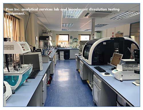 Pion Inc. analytical services lab and biorelevant dissolution testing equipment.