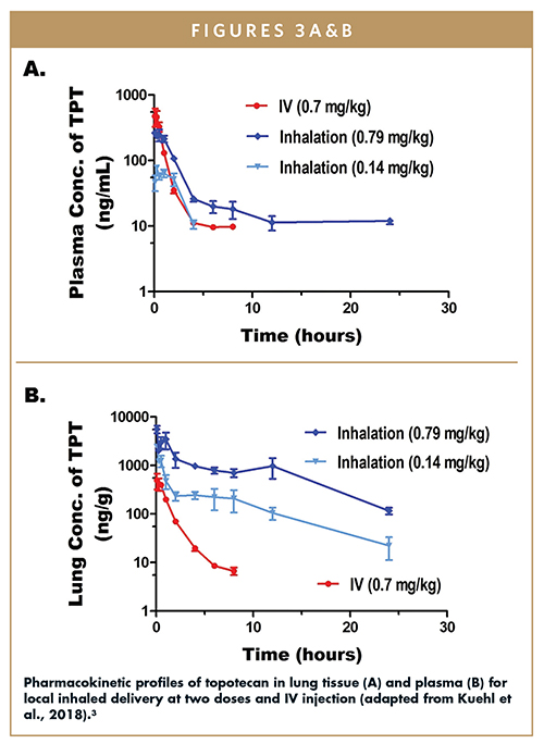 Pharmacokinetic profiles of topotecan in lung tissue (A) and plasma (B) for local inhaled delivery at two doses and IV injection (adapted from Kuehl et al., 2018).3