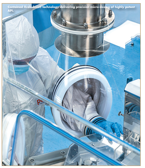 Contained Xcelodose® technology delivering precision micro-dosing of highly potent API.