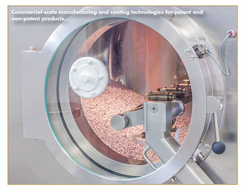 Commercial-scale manufacturing and coating technologies for potent and non-potent products.