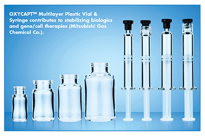OXYCAPTTM Multilayer Plastic Vial & Syringe contributes to stabilizing biologics and gene/cell therapies (Mitsubishi Gas Chemical Co.).