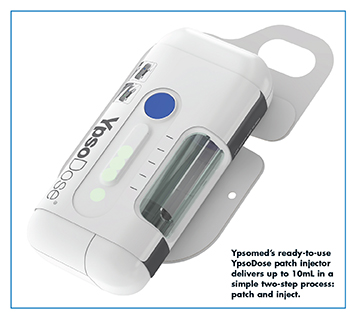 Ypsomed's ready-to-use YpsoDose patch injector delivers up to 10mL in a simple two-step process: patch and inject.